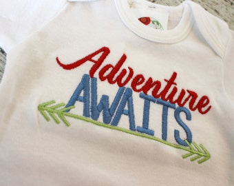 Take home outfit for boys,  Newborn gown, Adventure Awaits, Baby Shower Gift, coming home outfit, Newborn Photo Prop, hospital outfit
