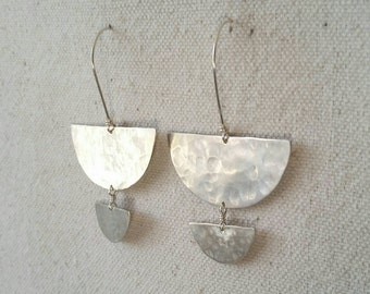 Rumi . Hammered Sterling Silver Dangle Earrings