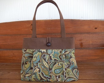 Handbag Purse Fabric Handbag Summer Fashion Accessories Women Handbag Large Pleated Bag in Brown with Beige Paisley Print