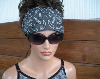 Womens Headband Fabric Headband Accessories Women Headscarf Yoga Headband Summer Headband Bandana in Charcoal Gray - Choose color