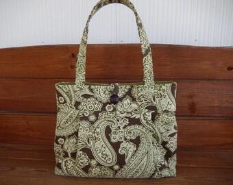 Fabric Handbag Purse Accessories Women Handbag Pleated Bag Large Shoulder Bag in Dark brown with Sage Green paisley