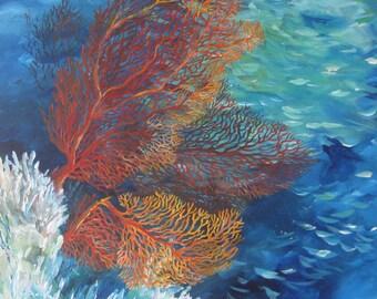 "Acrylic painting ""Orange Sea Fan"""