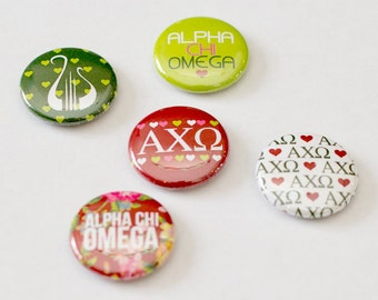"""Alpha Chi Omega 1"""" Buttons, Alpha Chi, AXO, Buttons, Sorority buttons"""