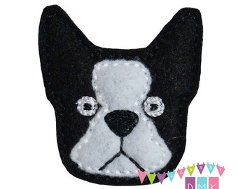 Boston Terrier Puppy Dog Felt Embroidered Embellishment Clippie Cover SET of 4 - Multiple Sets Available