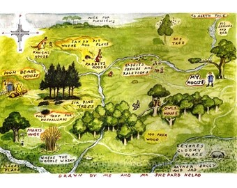 Map of the 100 Aker Woods  - Vintage Art Reproduction-100 Acre Woods