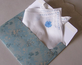 Bride's Wedding Handkerchief in Rustic Blue for a Country Wedding, Something Old and Something Blue Bridal Shower Gift with Free Envelope