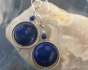 Bold Lapis Lazuli Dangle Earrings