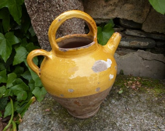 Antique French buret wine jug pitcher Provence pottery handmade yellow glazed terra cotta pot south of France, country cottage kitchen decor
