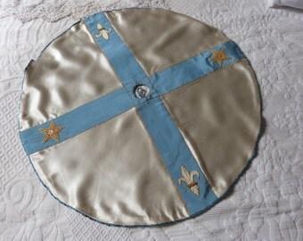 Antique French church altar ciborium veil handmade veil w fleur de lys lis star for religious tabernacle w blessed sacrament church fabric