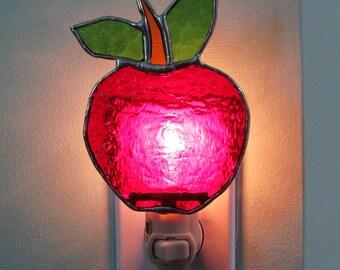 Apple Night Light in Scarlet Red Granite Glass