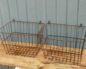 Vintage Wall Basket - Set of 2 Industrial Baskets