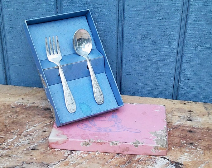 Vintage Childs Fork and Spoon Set in Box - Peter Rabbit Utensils