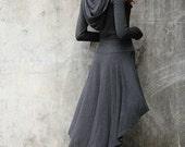 Dark Grey Boho Hoodie Dress / Hooded Dress / Long Sleeve Dress / Hooded Top / Asymmetric Hoodie - NC714