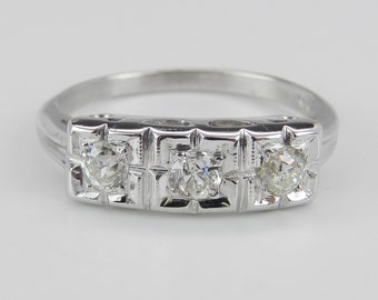 Diamond Anniversary Ring Vintage Band Estate Antique Ring 14K White Gold 3-Stone Size 6.25