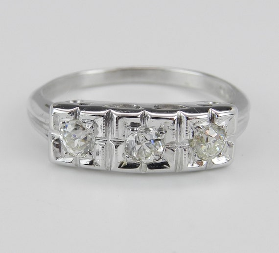 Diamond Anniversary Ring Vintage Band Estate Antique Ring 14K White Gold 3-Stone Size 6.25