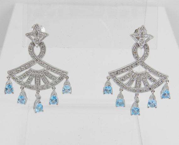 Diamond and Blue Topaz Dangle Chandelier Earrings 14K White Gold Wedding Earrings