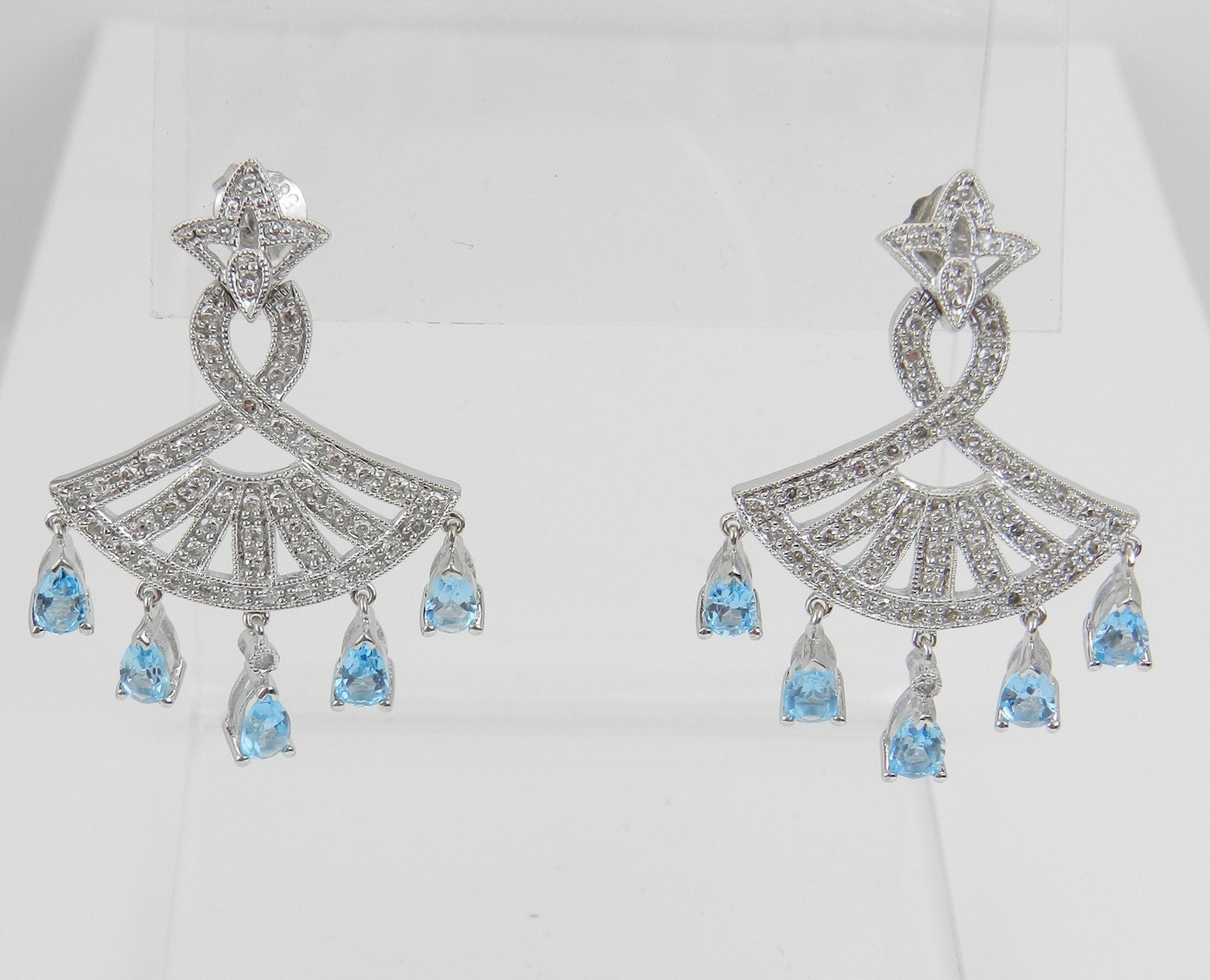 Diamond And Blue Topaz Dangle Chandelier Earrings 14k White Gold Wedding  Earrings