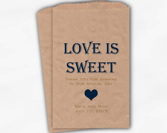 Love Is Sweet Candy Buffet Treat Bags - Personalized Wedding Favor Bags in Navy Blue and Gold - Custom Kraft Paper Bags (0167)