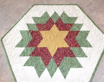 Sage Little Quilt, Exploding Star, Small Quilt, Exploded Star 1203-10