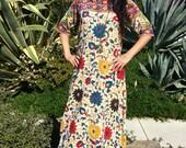 Vintage Indian Cotton Circa 1970s Handmade Kaftan 3/4 Sleeve