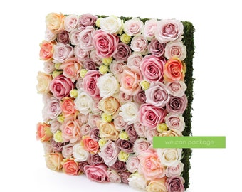 """Artificial Rose Flower Wall - 20"""" by 20"""" - Party Backdrop - Blush Pink - Ivory - Peach"""