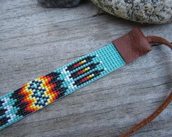 Green Seed Beaded Bracelet, Loom Beaded Bracelet with Deertan Leather Ties