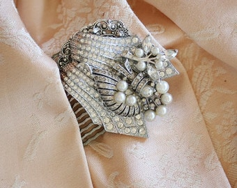 Wedding Hair Comb, Made with Vintage Jewelry, Vintage Wedding Jewelry, Vintage Bridal Hair Comb, Vintage Wedding Hair Comb, Bridal Dress