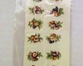 Vintage Water Mount Decal - Tiny Mixed  Fruits with Leaves  - Set of 16 Decals in 8 Different Designs