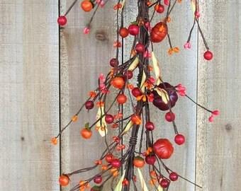 Fall Garland - Pumpkin Berry Garland - Fall Primitives - Fall Home Decor - Thanksgiving Garland - Fall Wreath - Halloween Craft Supply