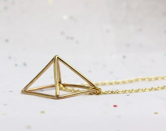 Square Pyramid Necklace  - Minimalist Jeweley - Jeweler's Brass or Sterling Silver