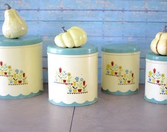 Vintage Set of Nesting Tin Collectible European Kitchen Canisters Yellow and Mint Green