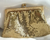 Vintage Gold Mesh ~ Small Clutch ~ Stunning Evening Purse ~ Made in USA ~ Gorgeous Whiting & Davis Co