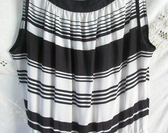 Vintage Black and White Dress ~ Designer ~ Lightweight ~ High Collar ~ Sleeveless