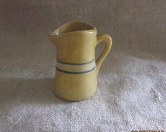 Charming Child/Doll Size Yellow Ware Pitcher/Child Size Pitcher/ Individual Creamer/Handmade Pitcher/Folk ArtPottery Pitcher/