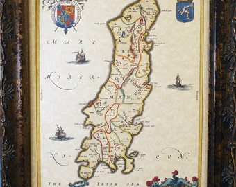Isle of Man Map Print of a 1665 Map on Parchment Paper