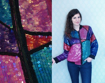 1990s Vintage Jewel-Toned Sequined Spring Jacket Windbreaker Coat / Purple Green Pink Zip-Up Outerwear Blazer with Shiny Sequins / OSFM M L