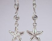 Sterling Silver & CZ Starfish Earrings Cubic Zirconia