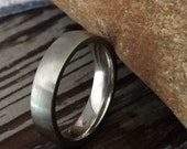 Silver Comfort Fit Wedding Ring - Brushed Surgical Stainless Steel 5mm Band - Unisex Men's or Women's Size 9