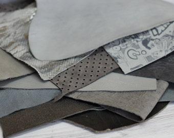 Leather  Scraps, Gray Colors  Genuine Leather , Small Offcuts