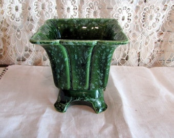 Flower Pot by Hull Imperial Line / Planter / Green Hull Planter with Legs # f73