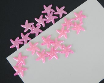 Bright Pink Star Fish Cabochon Resin Flat Back 19mm Set of 20