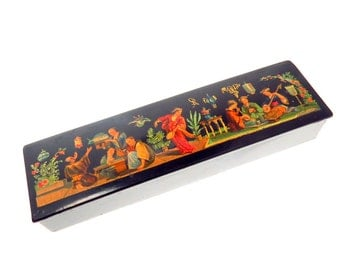 Vintage Hand Painted Lacquered Pencil Box