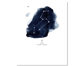 "Leo Watercolor Giclee Fine Art Print Poster of Original Painting 8x10"" Constellation Zodiac Horoscope"