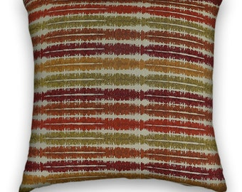 Multicolored Striped Decorative Throw Pillow- 18x18 or 20x20 or 22x22 Pillow Cover- Accent Pillow