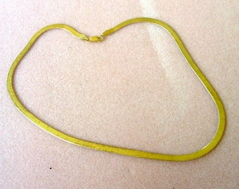 Vintage Gold Tone  Flat Chain Necklace - 18 Inches - No. 1666