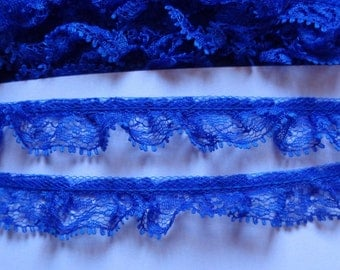3/4 inch Single-Gathered Lace, royal blue selling by the yard