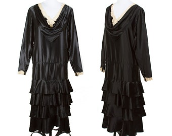 1920s Dress // Black Silk Drop Waist Dress with Tiers of Ruffles Trimmed in Lace