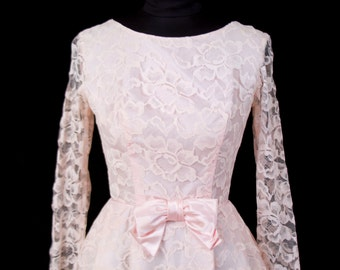 1960s Dress // Pink Lace Party Dress with Satin Bow