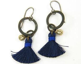 Boho Tassel Earrings, Blue Tassel Earrings, Blue Fringe Earrings, Brass Hoop Earrings, Rustic Earrings, Silk Tassel Earrings