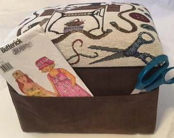 Footstool, Sewing Box with removable Lid & Pockets on two sides.